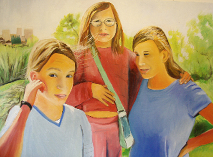 "Alex, Sarah, and Johanna, oil on canvas, 30""x40"""