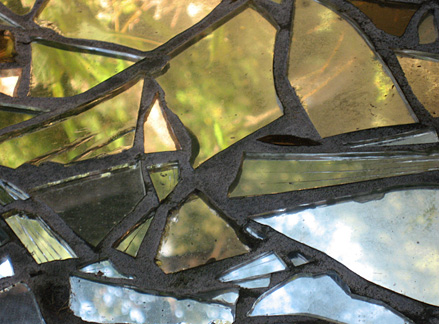 "Reflective Stone (detail), mirror, grout, on stone, 28""x15""x22"""