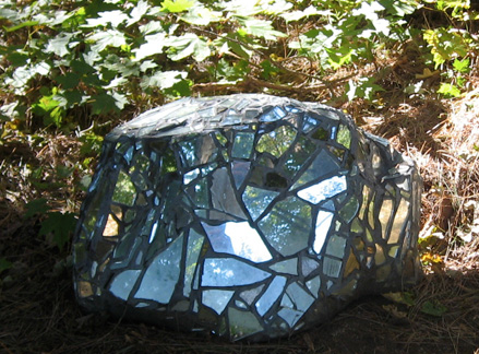 "Reflective Stone 2, mirror, grout, on stone, 28""x15""x22"""