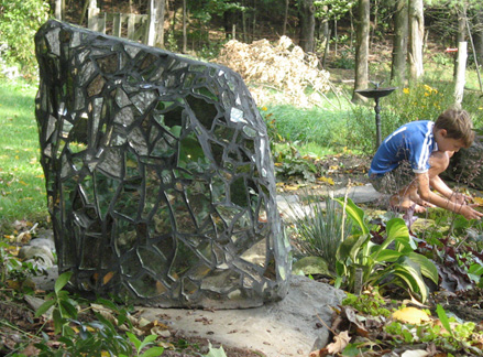 "Reflective Stone 1, mirror, grout, on stone, 28""X15""X22"""