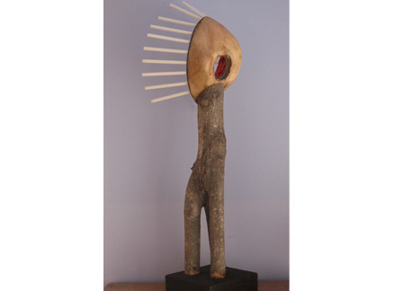 "Spirit Figure, acrylic paint, fiberglass wands, wood, 36""x9""x15"""