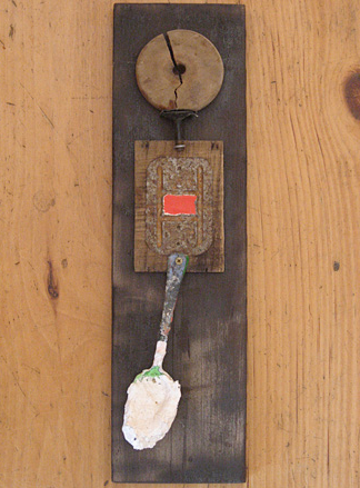 "Time Keeper, mixed media and found objects, 19""x5.5""x1"""