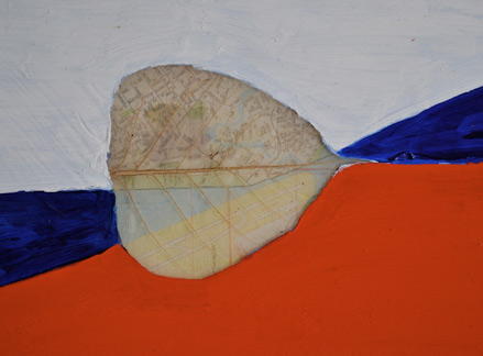"Unique Flag, acrylic, leaf, map on plexiglass, 8""x9"""