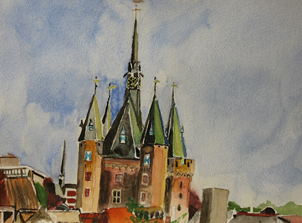 "Zwolle Roofs, water color, 9""x12"""